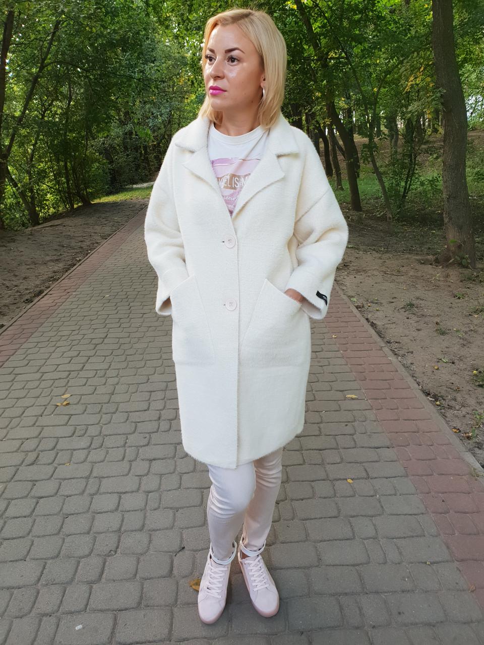 Белое пальто-кардиган