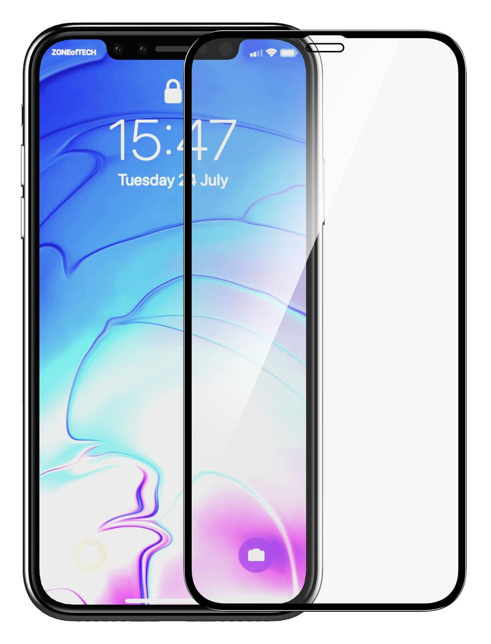 Защитное стекло Hoco для Apple iPhone X / Xs Glass Shield + 0.2мм Черные рамки (075202)