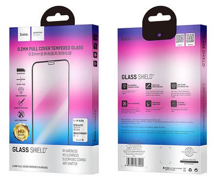 Защитное стекло Hoco для Apple iPhone X / Xs Glass Shield + 0.2мм Черные рамки (075202), фото 2