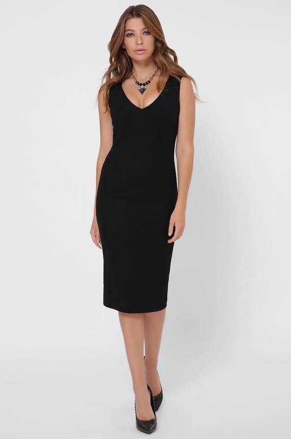 Черное коктейльное платье-футляр с перьями, фото 2