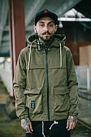 Куртка-ветровка хаки зеленая с капюшоном мужская молодежная крутая легкая от Crown Grade