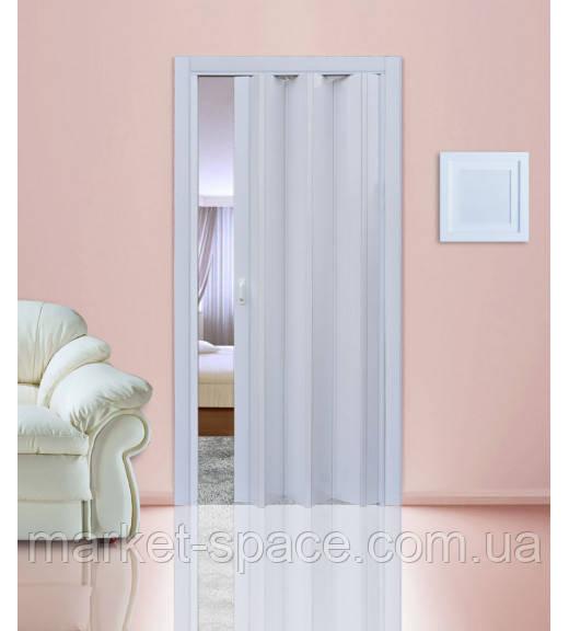 Дверь гармошкой глухая. №822. Цвет: белый 2030мм/810мм/6мм