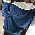 Джинсовая курточка утепленная искусственной овчиной синий, фото 7