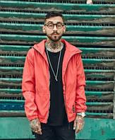 Куртка-ветровка красная с капюшоном мужская молодежная крутая легкая от Crown Grade