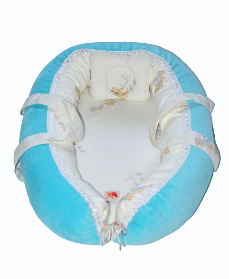 Переноска для новорожденных детей голубая