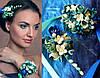 """""""Морская волна"""" заколка+браслет. Комплект украшений с цветами из полимерной глины"""