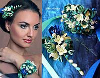 """""""Морская волна"""" заколка+браслет. Комплект украшений с цветами из полимерной глины , фото 1"""