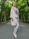 Пальто -кардиган молочное из шерсти альпака, фото 3