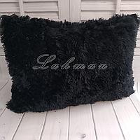 Чехол для подушки травка  50х70 см.   Декоративные пушистые наволочки для интерьера, цвет черный