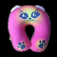 Подушка дорожная под шею рогалик Котик антистресс, полистерольные шарики, размер 35*35см