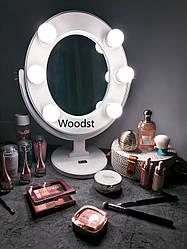 Зеркало для макияжа с лампочками белое Star