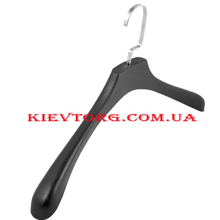 Вешалки плечики для верхней одежды черные со структурой дерева, 44 см