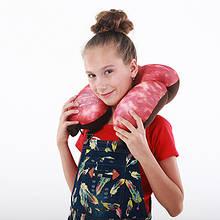 Подушка рогалик дорожная Колбаса антистресс, полистерольные шарики, размер 30*35см
