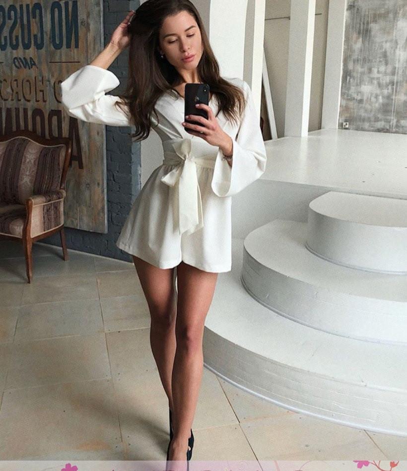 Комбинезонна запах юбка-шорты широкий рукав