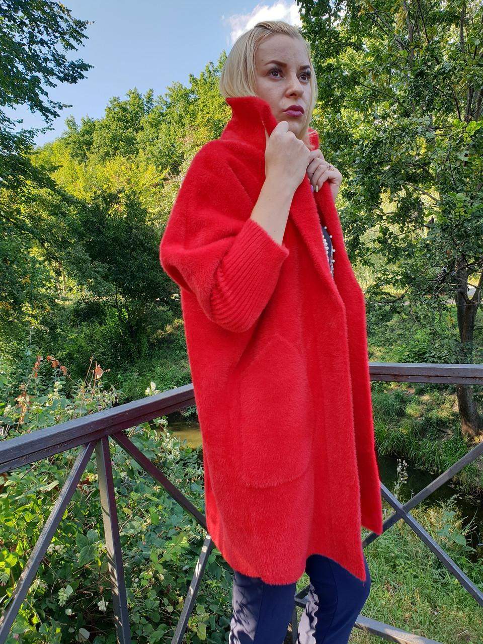 Красное пальто-кардиган