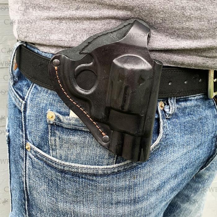 Кобура поясная для револьвера 2,5 формованная (кожа, чёрная)