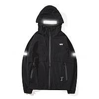 Куртка-ветровка черная с капюшоном рефлективные вставки мужская молодежная крутая легкая от Crown Grade