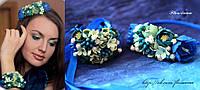 """""""Морская волна"""" ободок+браслет. Комплект авторских украшений , фото 1"""
