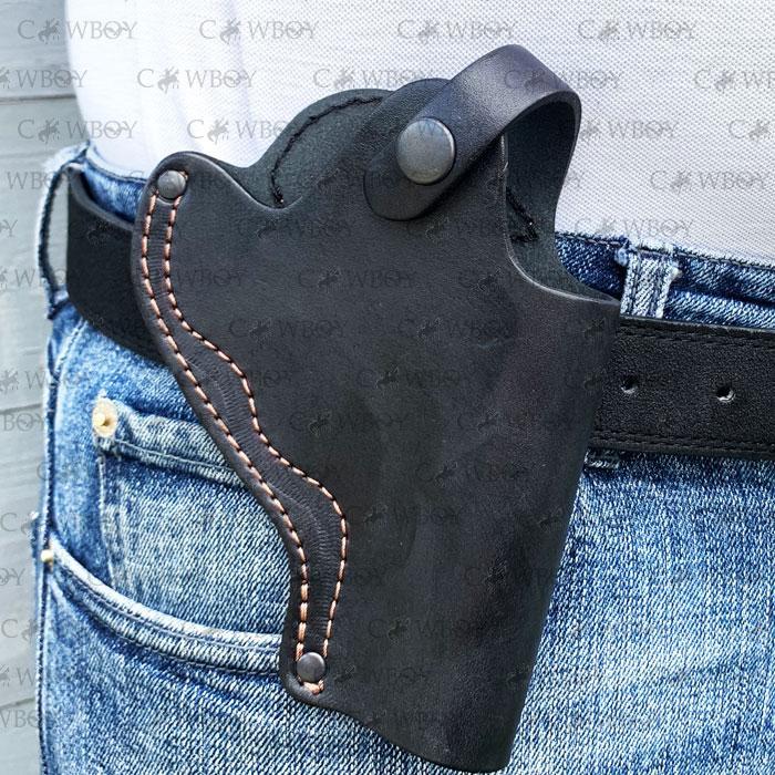 Кобура поясная для револьвера 3 неформованная (кожа, чёрная)