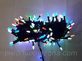 Гирлянда 100 LED ИГОЛКА (РИС) на черном проводе 5mm, разного цвета