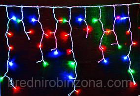 Гирлянда Бахрома (сосулька-штора) 120 LED-5mm, на прозрачном проводе разноцветная