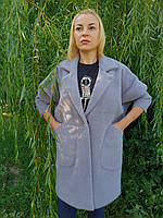 Серое пальто-кардиган, фото 1
