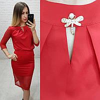 Костюм двойка (арт. 814/2 + 122) женский блука + юбка нарядный красный / красного цвета