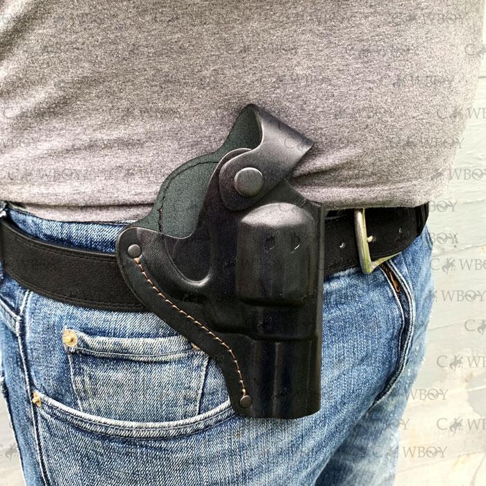 Кобура поясная для револьвера 3 формованная (кожа, чёрная)