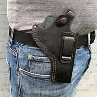 Кобура поясная для револьвера 4-4,5 неформованная с клипсой (кожа, чёрная), фото 1