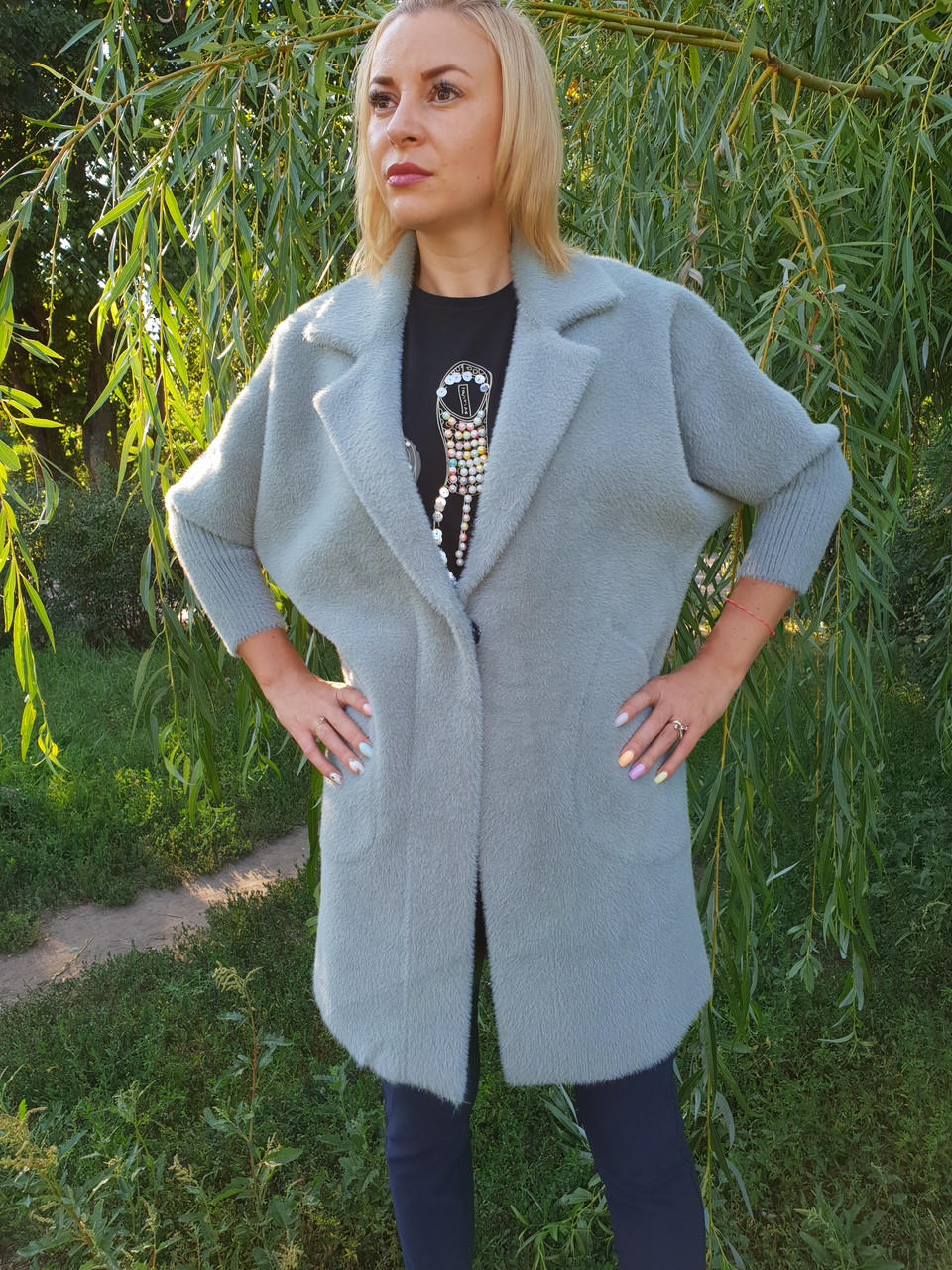 Фисташковое  пальто-кардиган из шерсти альпака