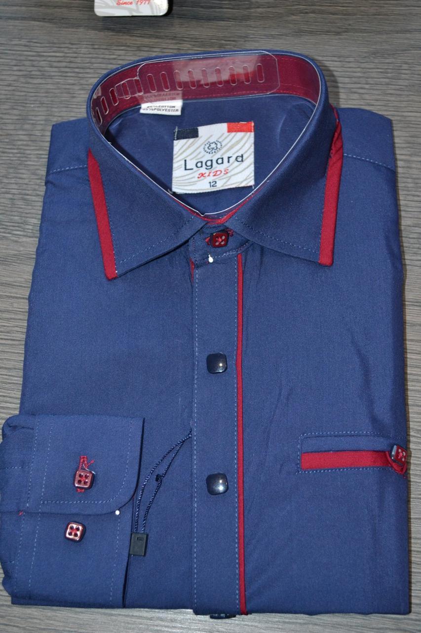 Дитяча темно-синя з візерунком і вставками сорочка LAGARD (розмір 6.10)