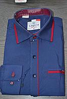 Детская темно-синяя с узором и вставками рубашка LAGARD (размер 6.10)