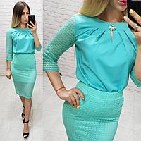 Костюм двойка (арт. 814/2 + 122) женский блука + юбка нарядный бирюзовый / бирюзового цвета