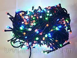 Гирлянда 200 LED 5mm, на черном проводе, Разноцветная