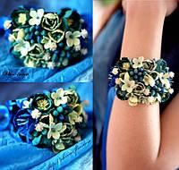 """""""Морская волна"""" браслет на руку с цветами из полимерной глины"""