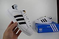 Женские кроссовки в стиле Adidas Superstar, белые/черные полоски кожа 38 (24 см)