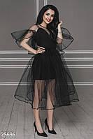 Чёрное эффектное вечернее,выпускное платье из 2-х слоёв фатина