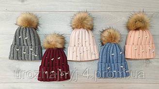 Вязанная шапка на флисе р52-54