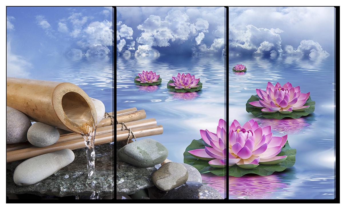 Модульная картина Interno Эко кожа  Лотосы на озере 124x70см (A198L)