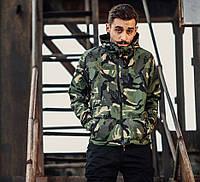 Куртка-ветровка двусторонняя камуфляж и черная с капюшоном модная стильная спортивная от Skate Park Скейт Парк