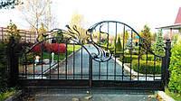 Кованые ворота решетчатые с цветами