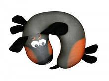 Антистрессовая дорожная подушка рогалик Такса, полистерольные шарики, размер 30*30см