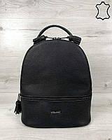 Кожаный женский черный рюкзак черного цвета средний для девочки, жіночій шкіряний середній рюкзак