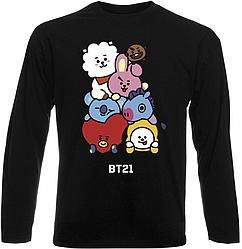 """Футболка с длинным рукавом BTS Bangtan Boys """"BT21"""" (чёрная)"""