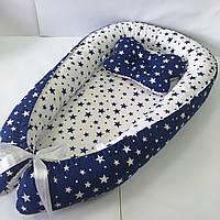 Кокон гнездышко для новорожденных Сладкий Сон с ортопедической подушкой Синий/белый