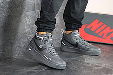 Мужские высокие кроссовки Nike Air Force AF 1,серые 44р, фото 3