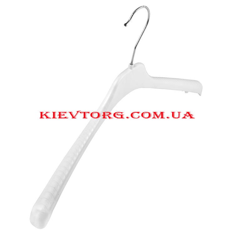 Плечики вешалки белые пластиковые для легкой одежды, трикотажа, свитеров для дома и магазина, 46 см