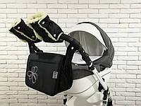 Комплект сумка и рукавички на коляску Ok Style Цветок (Черный)