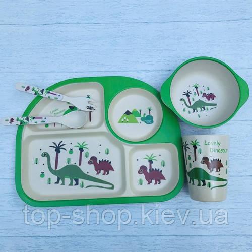 Бамбуковый набор детской посуды динозавры из 5 предметов