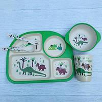 Бамбуковый набор детской посуды динозавры из 5 предметов, фото 1